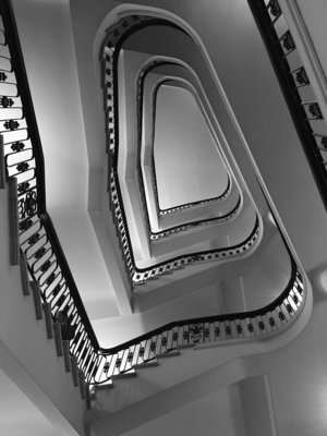"Spiral Stairway, 2015, archival ink print, 18"" x 13.5"", Edition 20.  Black and white photography of a spiral stairway."