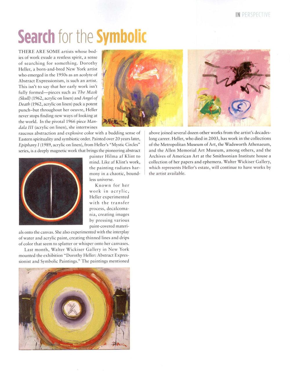 """From left to right:   Dorothy Heller,  Epiphany II , 1989, Acrylic on Linen, 17"""" x 16""""    Dorothy Heller,  Mandala III , 1966, Acrylic on Linen, 28"""" x 38""""    Dorothy Heller,  The Mask (Skull) , 1962, Acrylic on Linen, 50"""" x 54""""    Dorothy Heller,  Angel of Death , 1962, Acrylic on Linen, 51"""" x 55"""""""