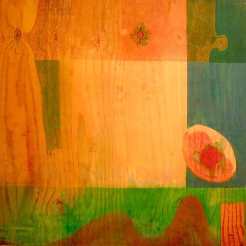 "Plywood-Ireland, 2009, archival ink print on canvas, 36"" x 36"", edition 4/10.  Abstract photograph of wood pattern in yellow, orange, green and red."