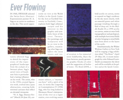 """From left to right:  H.A.Sigg,  In the Middle Realm III , 1994, Acrylic on Canvas, 50"""" x 70""""  H.A.Sigg,  The Bend,  2004 , Acrylic on Canvas, 20"""" x 32""""  H.A.Sigg, Lingering in Contemplation IV , Acrylic on Canvas, 50"""" x 70""""  H.A.Sigg, Witin the Red III , 2006, Acrylic on Canvas, 24"""" x 46"""""""