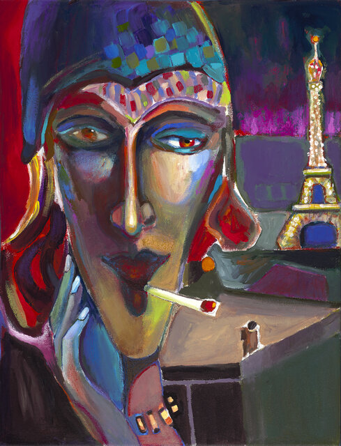 """Bonsoir Paris , 2019, Acrylic on canvas, 24"""" x 18.5"""".  Abstract portraiture of a Parisian woman smoking a cigarette. Blue, red, yellow on the face and the Eiffel tower on purple background."""