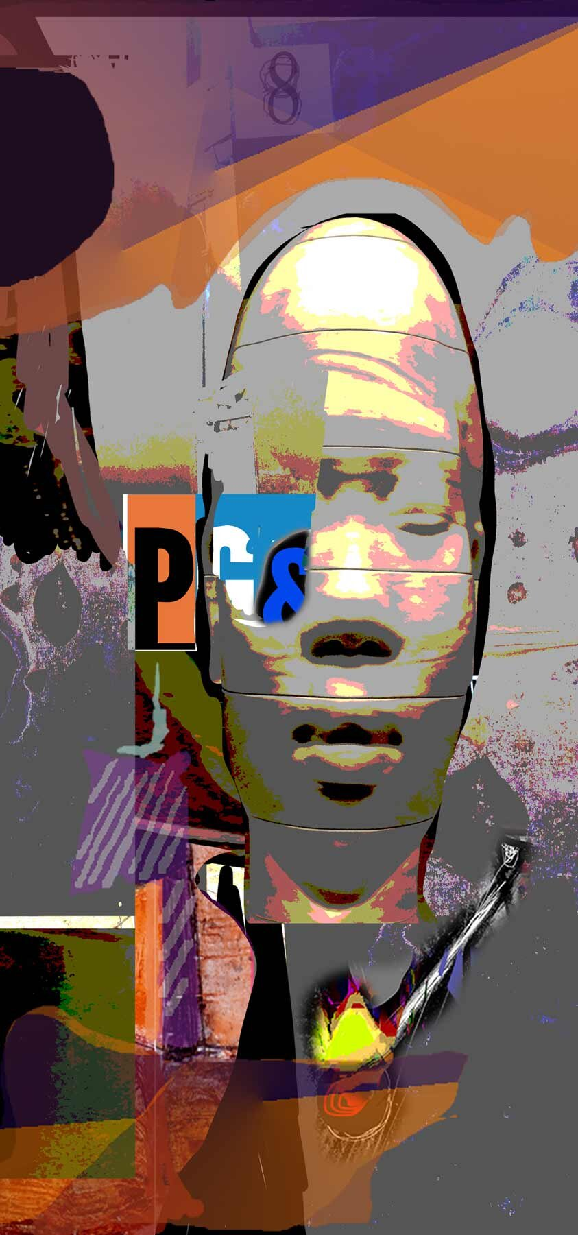 """Conflict of Interest,  2019, Digital on Aluminum (Limited edition 3/25), 50"""" x 23.75"""" x 3/4"""".  Abstract portraiture of a man in oval face in the center, purple, orange, gray background."""