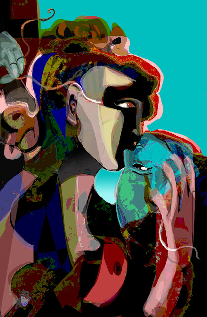 """The Unraveling, 2019, Media Original Digital on Paper, 35"""" x 22"""".  Abstract portraitures of two people kissing. Triangular shapes on hair, face and body. Blue, yellow, red, green shapes on turquoise background."""