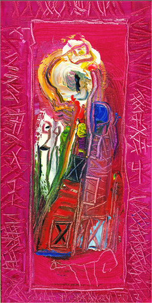 """Soile Yli-Mäyry,   Burning Fire  , 2017, Oil on Canvas, 16"""" x 8"""".  Female abstract nordic portraiture with palette-like face, expressionist facial tones, eyes, mouth with bright pink background."""