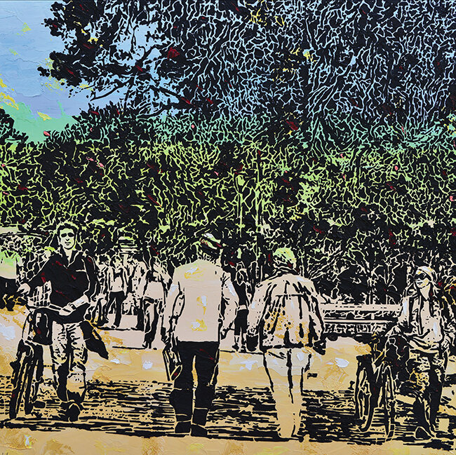 "Promenade  , 2013, Imprints,relief painting on wood panel, 30"" x 30""  Woodblock print-like painting with black background portraying shapes of figures, trees. Tannish white foreground, greenish horizon."