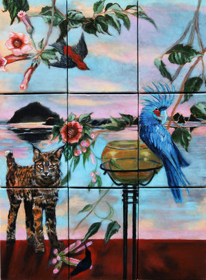 "Eternal Gaze of the Messenger III  , 2017, Oil on Canvas, 24"" x 18"" Seascape in Oregon featuring rocks, parrot, cat and trees. red, blue, pink on foreground with pinkish blue sky"