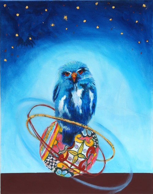 "The Past is Not Finished Here I,   Oil on Canvas, 11"" x 14""  A blue bird standing on top of a round patterned ball. Brown foreground and blue sky with yellow stars."