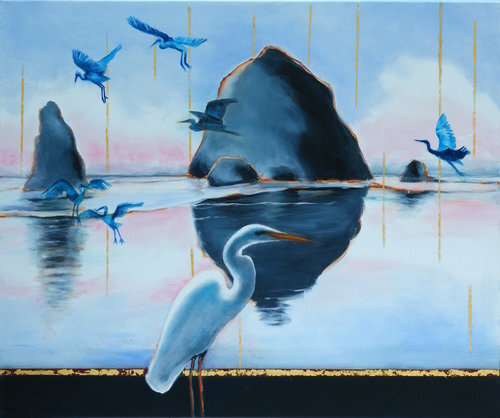 "Reflections of Stories Untold I, 2017, Oil on Canvas, 24"" x 20""  Seascape in Oregon featuring rocks and birds. black, gray horizon with blue, gray, pink sky"