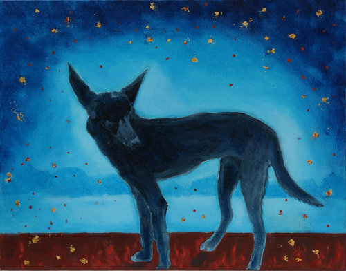 "The Past is Not finished Here IV,   2017, Oil on Canvas, 11"" x 14""  A black dog standing on reddish brown ground. Seascape with rocks on the horizon with blue sky with yellow stars."