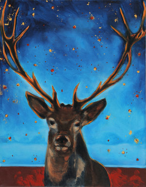 "The Past is Not Finished Here II,   2017,     Oil on Canvas, 11"" x 14""  frontal view of a deer, red and blue horizon and blue sky with yellow stars."