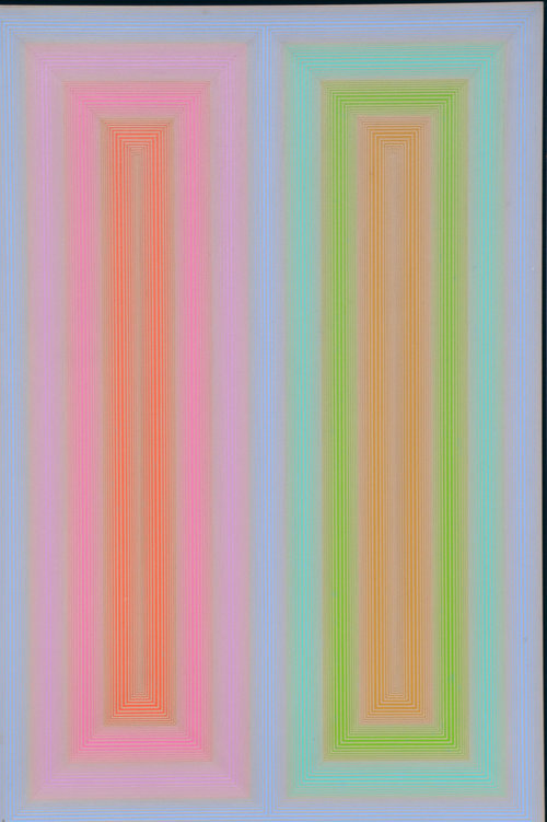 """Untitled, 1972, Acrylic on Masonite / Board, 24"""" x 36""""  Op art painting with blue background with pink and orange vertical rectangles left side , green and tan and blue vertical rectangles on right."""