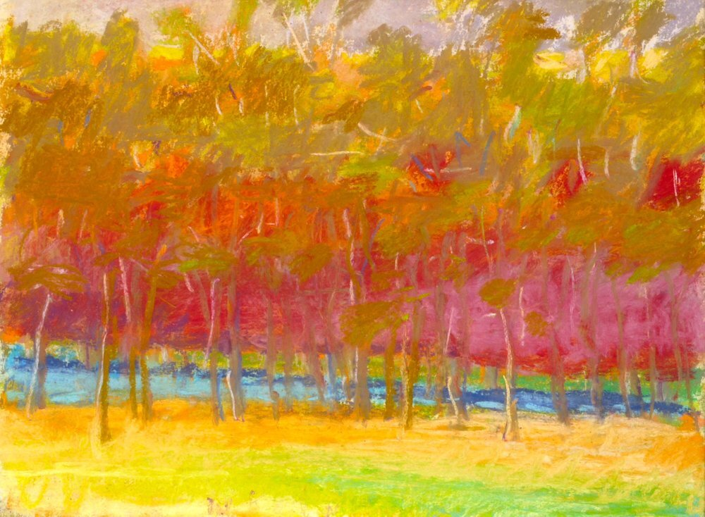 """Midsummer (SOLD), 1993, Pastel, 9"""" x 12""""  Pastel treescape with yellow foreground, olive trees and red background"""