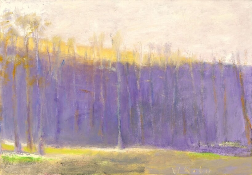 """Reluctant Green, 2001, Oil on canvas, 18"""" x 26""""  Treescape with purple horizon, yellow and beige sky"""