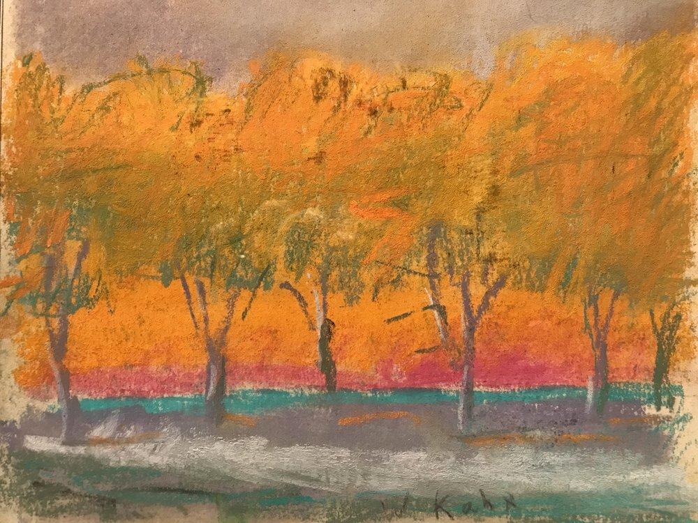 "Grey Ground, Grey Sky (SOLD), 1994, Pastel, 8"" x 10""  Pastel treescape with orange horizon, gray ground and brown sky"