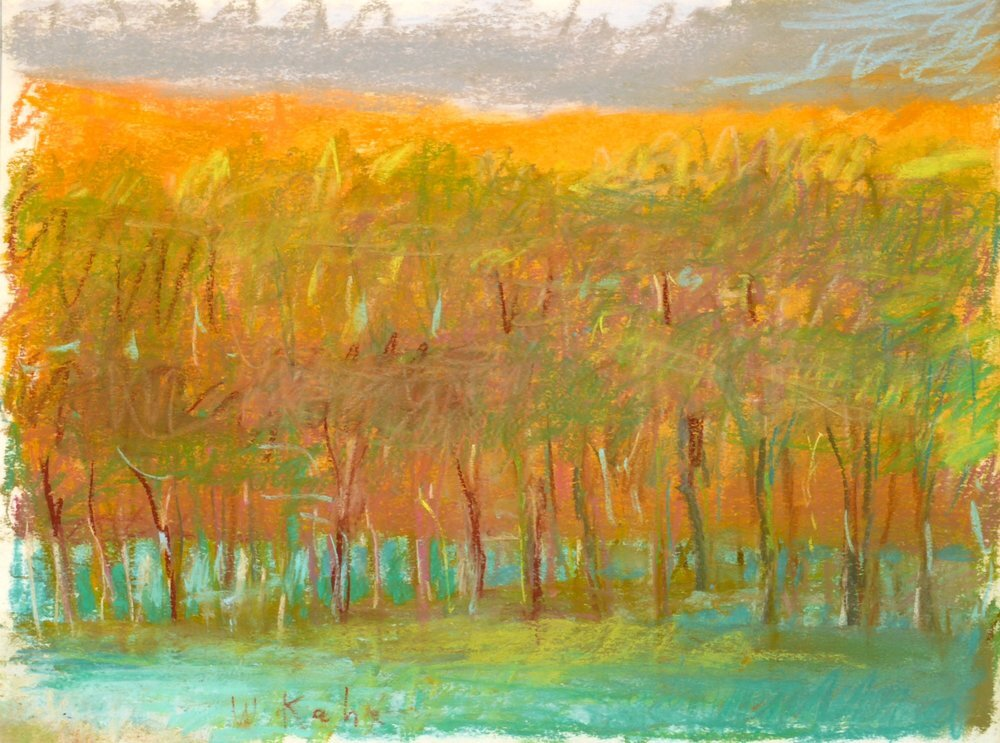 """Evening Tree Row (SOLD), 1993. Pastel, 9"""" x 12""""  Pastel treescape with orange horizon, olive trees, green ground and gray sky"""