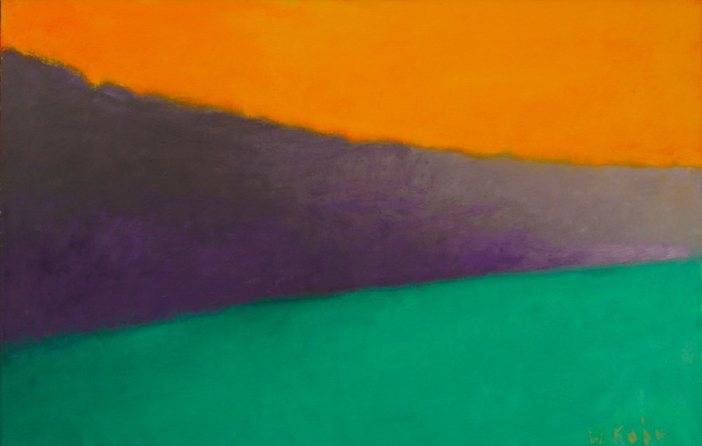 """Edge of the Trees, c. 1993, Oil on canvas, 18"""" x 28""""  Abstract horizontal painting with orange, purple and green panels"""