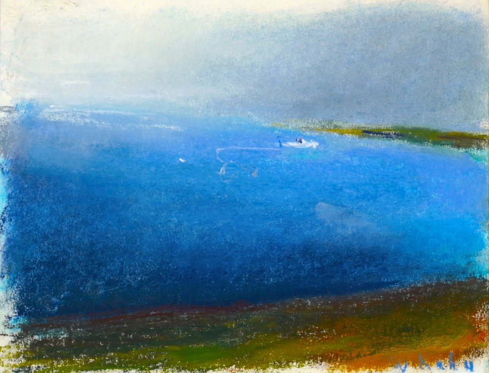 """Little Lobster Boat in Bad Weather, 1999. Pastel, 9"""" x 12""""  Pastel seascape with a small boat floating on water, olive ground and gray sky"""