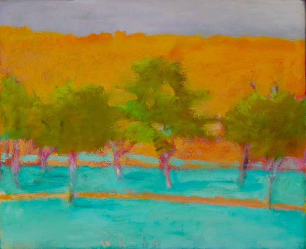 """Brilliant Green Trees, 1997, Oil on canvas, 18"""" x 22""""  Treescape with turquoise foreground, olive trees and orange background"""