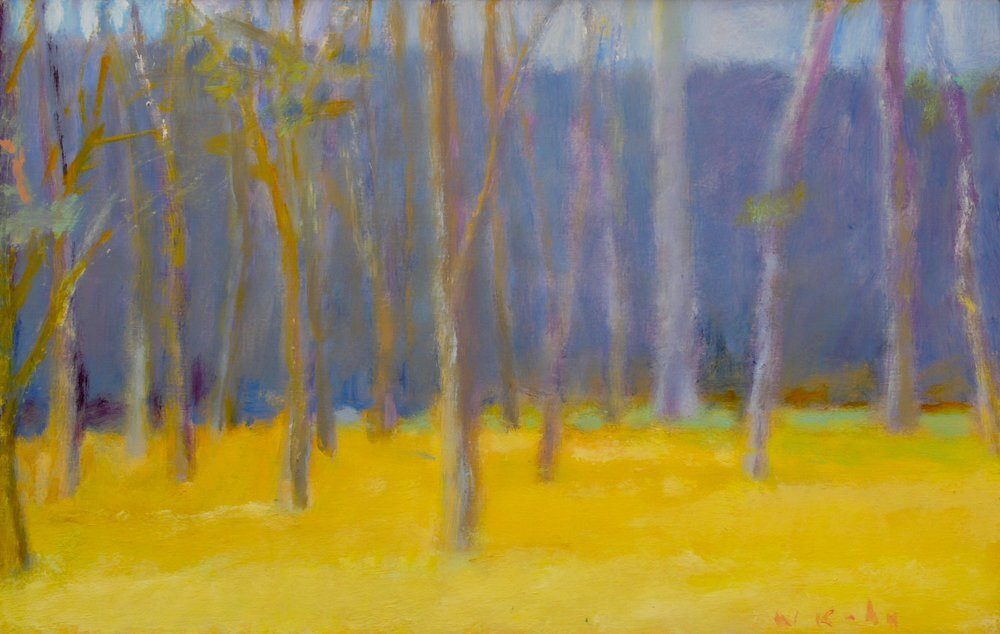 """Edge of Clearing, 1987, Oil on canvas, 14"""" x 22""""  Treescape with yellow foreground, gray trees and purple background"""