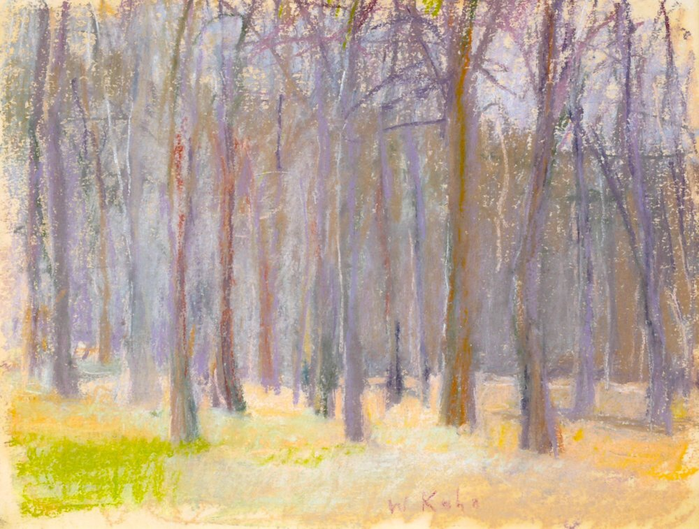 """Wood in a Violet Cast (SOLD), 1988, Pastel, 9"""" x 12""""  Pastel treescape with beige foreground, gray and purple trees"""