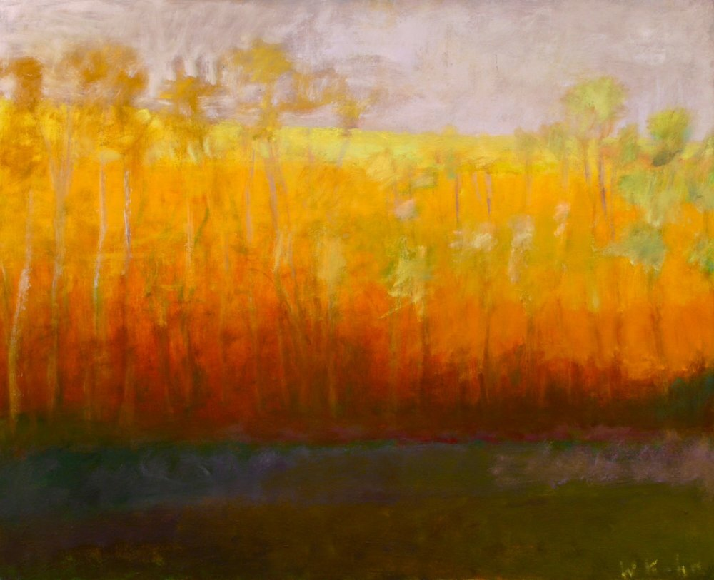 """Yellow Gold, 1991, Oil on canvas, 28"""" x 32""""  Treescape with olive foreground, yellow trees and orange, red background"""