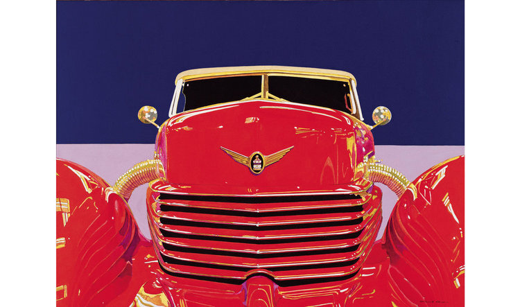 """Red Cord  , 1980, Acrylic on Canvas, 36"""" x 48""""  frontal view of a red cord car with blue horizon"""