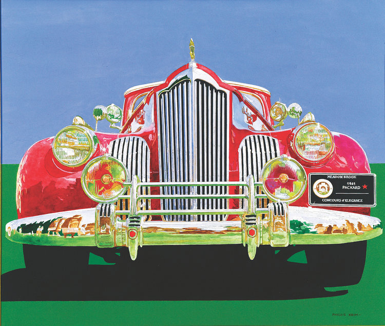 """1941 Packard Meadow Brook , Acrylic on Canvas, 40"""" x 46""""  red packard car with green foreground and blue sky"""