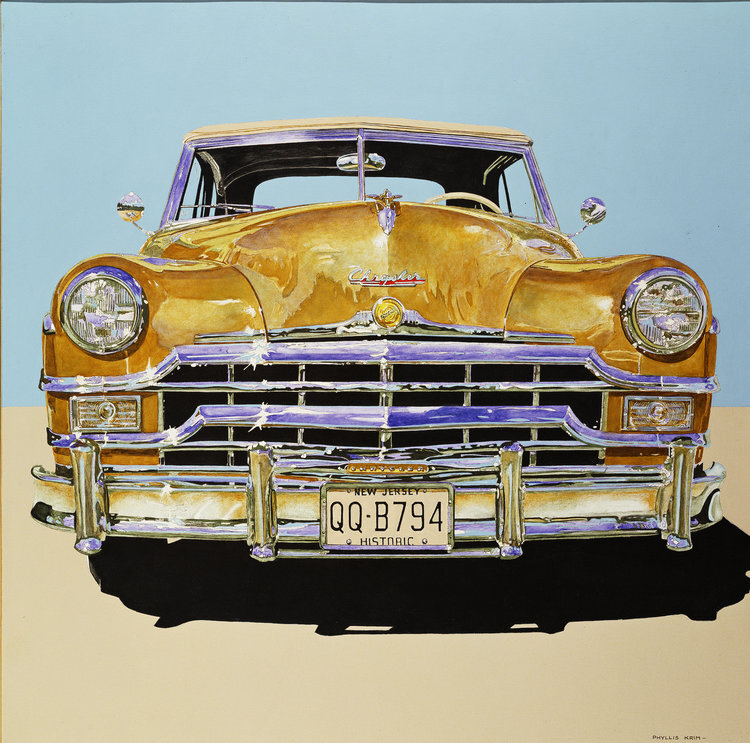 """Chrysler QQ-B794,  1986, Acrylic on Canvas, 40"""" x 40""""  yellow chrysler car with tan foreground and light blue sky"""
