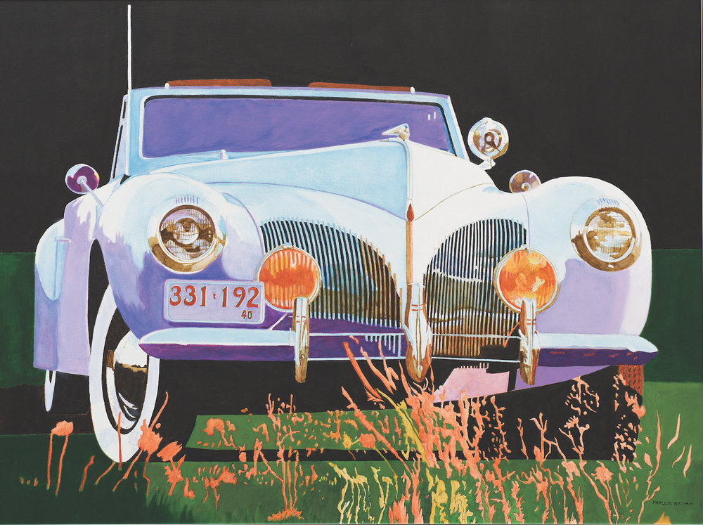 """1940 Lincoln, 2004,  Acrylic on Canvas, 30"""" x 40""""  white and purple lincoln car with green foreground, red abstract flowers and black sky"""