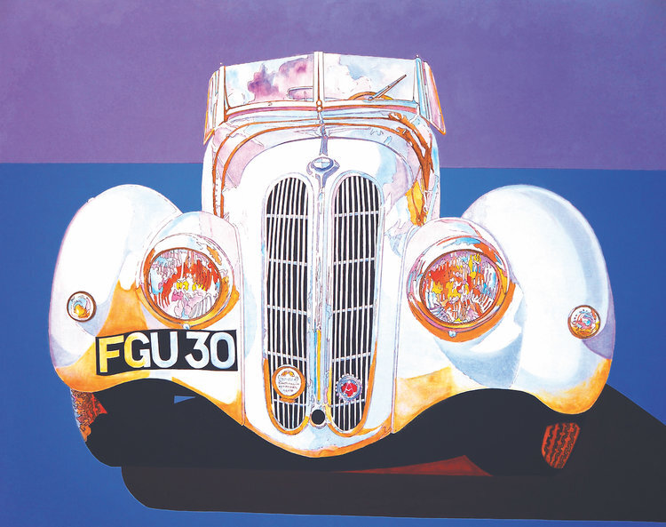 """BMW 328 , 1989, Acrylic on Canvas, 32""""x40""""  white BMW car with blue foreground and purple sky"""