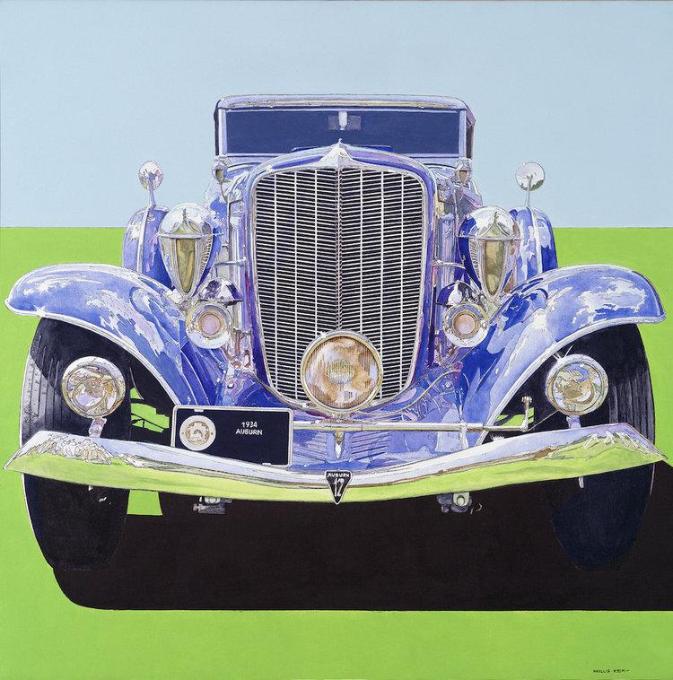 """1934 Auburn Blue, 1985,  Acrylic on Canvas, 40"""" x 40""""  purple auburn car with light green foreground and light blue sky"""