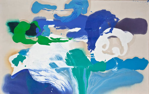 "Volcanic Blues  , 1986, Oil on canvas, 43"" x 69""  Poured paint colorfield painting with primarily blue, green, white U shaped images on unprimed canvas"