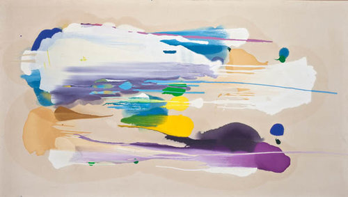 """Tan Horizontal (SOLD)  , 1982, Oil on canvas, 51"""" x 88""""  Poured paint colorfield painting with white, purple,tan, yellow and blue U shaped images on unprimed canvas"""