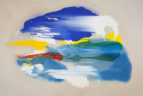 """Untitled (SOLD), 1983,   Oil on canvas, 45"""" x 67""""  Poured paint colorfield painting with blue, white, yellow and red U shaped images on unprimed canvas"""