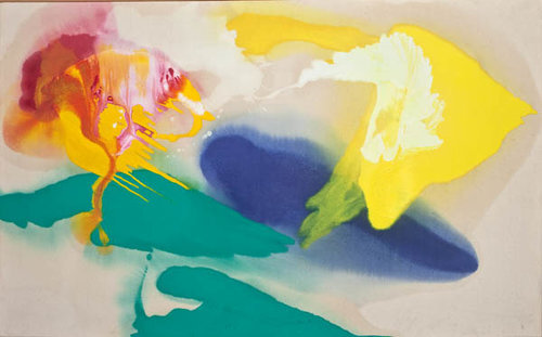 """The Islands  , 1991, Oil on canvas, 36"""" x 58""""  Poured paint colorfield painting with green, yellow, blue and red circular images on unprimed canvas"""