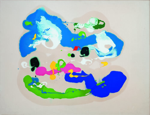 """The Land Within, 1984, Oil on canvas, 43.5"""" x 56""""  Poured paint colorfield painting with blue, green, white and pink circular images on unprimed canvas"""