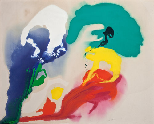 """Untitled, 1990, Oil on canvas, 44.25 x 58.25""""  Poured paint colorfield painting with blue, white, green, yellow and red U shaped images on unprimed canvas"""