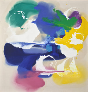 """Untitled, 1980, Oil on Linen, 58""""x55 1/2""""  Poured paint colorfield painting with multicolor U shaped images on unprimed canvas"""