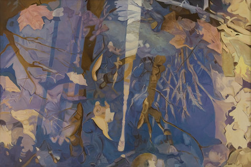 """White Streak, 1984, Oil on linen, 40"""" x 60""""  Reflected stream pool in blue with tan leaves, light and tree reflections."""
