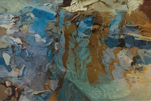 """Straylight, 1983, Oil on Linen, 47"""" x 70""""  Monochromatic reflected stream pool in blue with shimmering tree reflections in brown."""