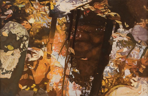 """In the Woods, 1987, Oil on linen, 26"""" x 40""""  Monochromatic reflected stream in tones of brown and yellow, leaves, reflected trees, and white rocks in background."""