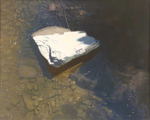 """Last Snow, 1978, Oil on linen, 40"""" x 50""""  Monochromatic reflected stream pool in browns with one snow-topped rock in the middle."""