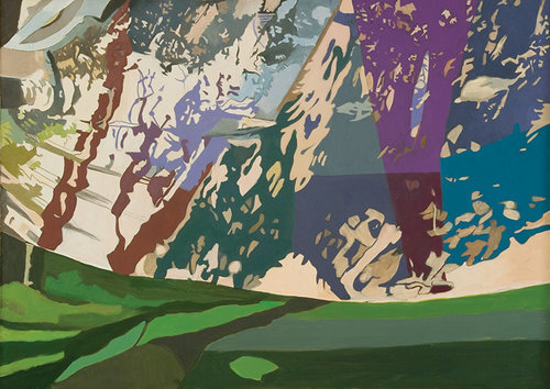 """Flurries, 1996, Oil on Linen, 36"""" x 50""""  Abstract apple tree with cheese cloth net refracting beige,brown,green , blue light patterns through the leaves with purple tree trunk and green foreground."""