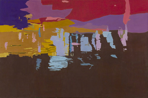 """Dark River Bottom, 1997, Oil on Linen, 40""""x60""""  Simplified abstract reflected stream pool foreground brown, with spots of blue , background yellow, red and purple."""