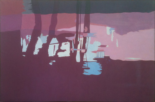 """Red Stream II, 1997, Oil on Linen, 40""""x60""""  Simplified abstract monochromatic reflected stream pool in purple and violet with middle blue spot and reflected trees."""