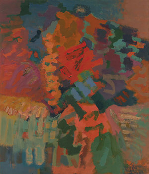 """Compassion-Autumn, 1960, Oil on linen, 84"""" x 72""""  Expressionist action 60s works with calligraphic shapes of green,orange,red,blue and yellow throughout."""
