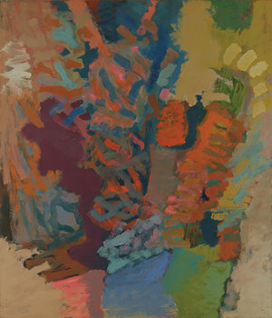 """Eros, 1960, Oil on linen, 84"""" x 72""""  Expressionist action painting with swirls and dashes of green, orange, blue, purple throughout."""