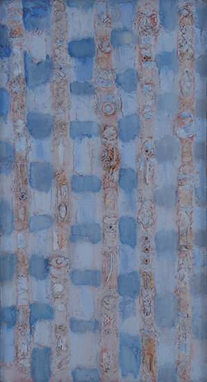 """Compassion Theme the Nail, 1952-54, 44"""" x 24""""  Monochromatic panel paintings in blue nail."""