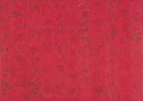 """Compassion-Red, 1955, Oil on Linen, 50"""" x 72""""  Panels of different variation of different red and genre."""