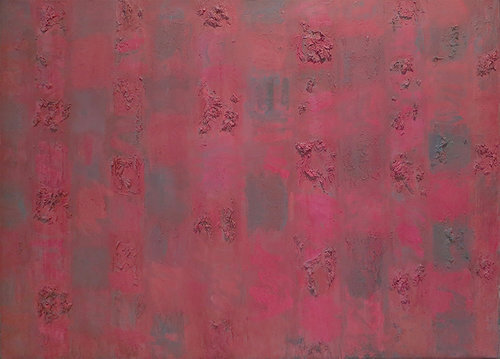 """Red and Rough II, 1955, Oil on linen, 36"""" x 50""""  Panels of different variation of different red and genre."""